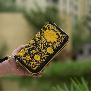 Handbags - FIRM! Just In! Yellow/ Black Embroidery Wallet